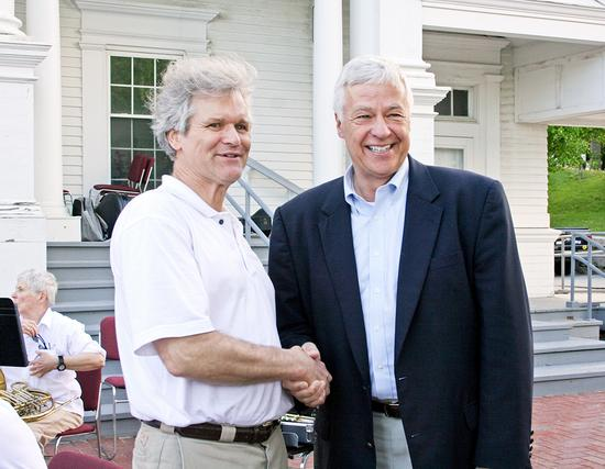 Jim Fisher, chairman of the Blue Hill Democratic Party meets Mike Michaud