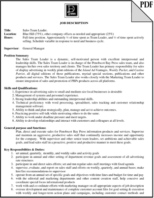 Sales Team Leader Job Description | Penobscot Bay Press